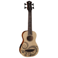 Luna Ukebasstat Ukulele Bass Baritone Tattoo With Preamp